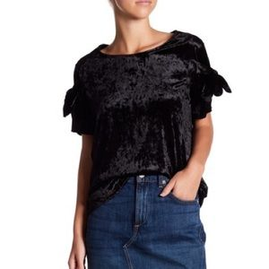 Black Crushed Velvet Tie Sleeve Blouse